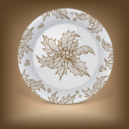 christmas holly: Decorative plate with Christmas holly. Illustration