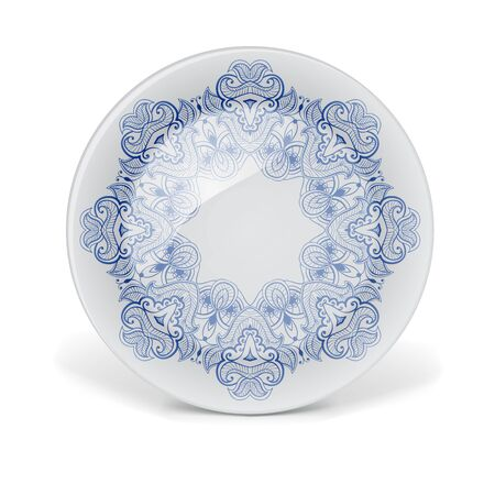 plate: Christmas decorative plate with round lace pattern.