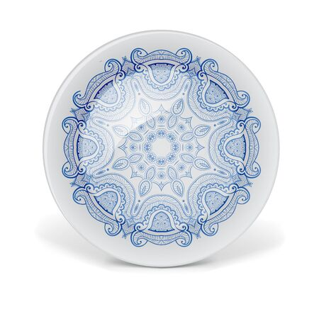 plate: Christmas decorative plate with circular lace pattern. Illustration