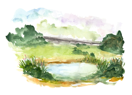 sky and grass: Nature landscape with blue lake. Watercolor illustration on white background