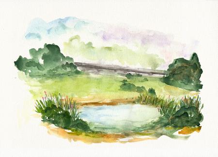 水彩テクスチャ紙の上の青い湖と自然風景。 写真素材