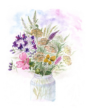 spica: Bouquet of watercolor colorful wildflowers in glass vase Stock Photo