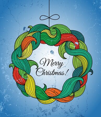 twirls: Christmas card with wreath of colorful twirls. illustration.