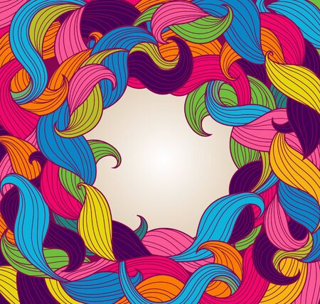 twirls: Greeting card template with frame of colorful twirls. Vector illustration. Illustration