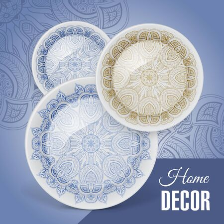 ceramic: Advertising banner with decorative ceramic tableware for gift shop and store utensils. Vector illustration