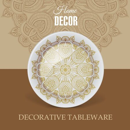 dinnerware: Advertising banner with decorative ceramic tableware for gift shop and store utensils. Vector illustration