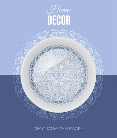 gift shop: Advertising banner with decorative ceramic tableware for gift shop and store utensils. Vector illustration