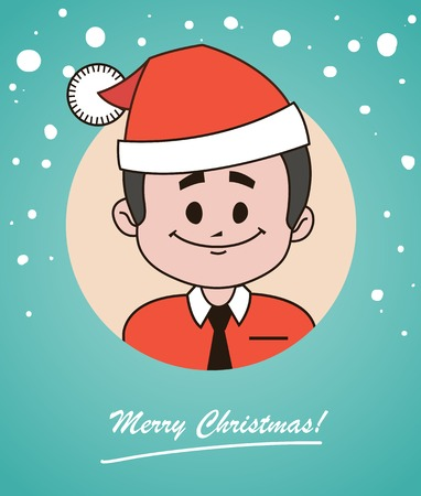 brown shirt: Christmas card  with happy  Santa Claus in red hat and tie.  illustration