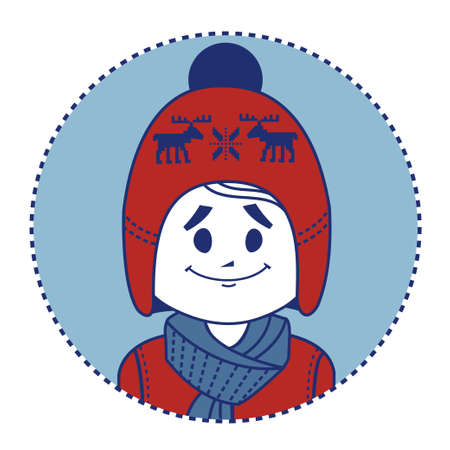 dressed: Smiling boy dressed in red knitted hat with deers and scarf.  illustration