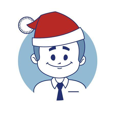 employe: Icon with christmas character Santa.  illustration