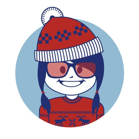 scandinavian girl: Christmas character Santa Claus girl in red hat and knitted sweater with Scandinavian ornament. Hipster style.