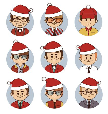 economist: Set of Christmas business characters. Vector illustration Illustration