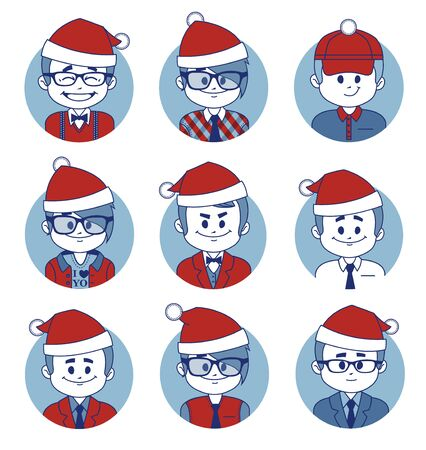 taxman: Set of icons with Christmas business characters. Illustration Stock Photo