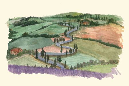 provence: Watercolor rural landscape, Provence, France. Watercolor illustration.