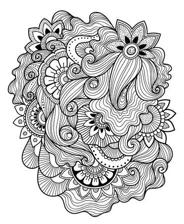 mending: Zen-doodle or Zen-tangle floral pattern. Composition in style mending.