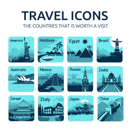 australia landscape: Set of travel icons with different countries of the world. Travel and tourism