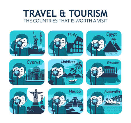 itza: Set of flat travel icons with different countries of the world. Travel and tourism