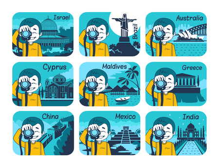 itza: Set of flat travel icons with different countries of the world. Travel and turism