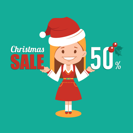 clause: Christmas discount , sale banner, holiday banner with woman seller in Santa Clause costume. Vector illustration Illustration