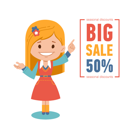 Big discounts , seasonal sale, vector banner with woman seller. Vector illustration