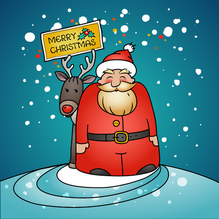 Holiday card with Santa Claus, gifts and reindeer. Vector illustration.