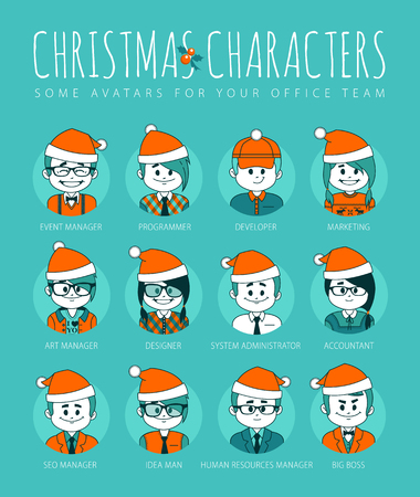 employe: Christmas Set of avatars your office team. IT industry. Vector illustration