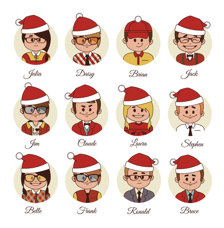 recourses: Christmas Set of avatars your office team or friends. Vector illustration.