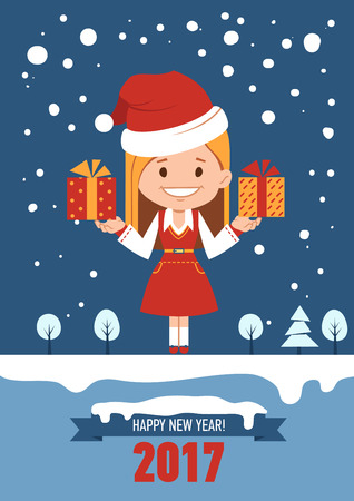 clause: Template of holiday postcard. New Year 2017 card. Girl in Santa Clause costume with gift boxes. Vector illustration Illustration