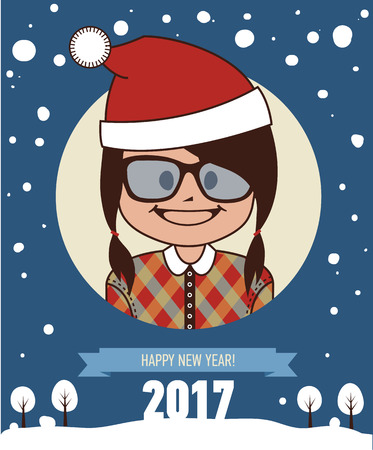 clause: Template of holiday postcard. New Year 2017 card. Happy hipster girl in Santa Clause hat. Vector illustration