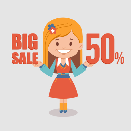 retailer: Big discounts , seasonal sale, banner with woman seller. illustration
