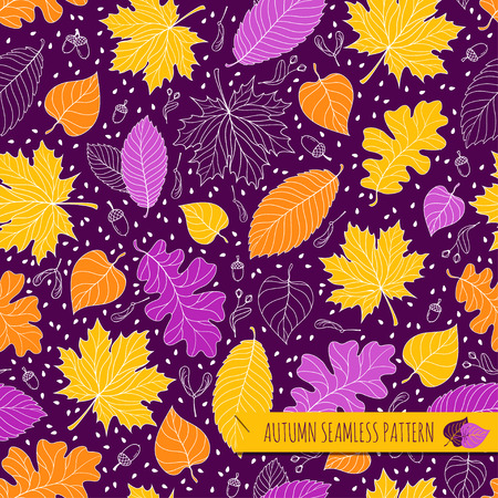 Autumn seamless pattern with seeds and leaves. Vector illustration Illustration