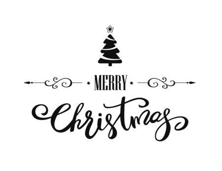 Merry Christmas hand lettering design. Vector illustration