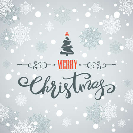 Merry Christmas greeting card with Christmas tree and snowflakes. Holiday lettering design.
