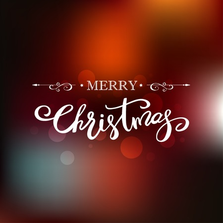 Merry Christmas greeting card on blurred background. Holiday lettering design.