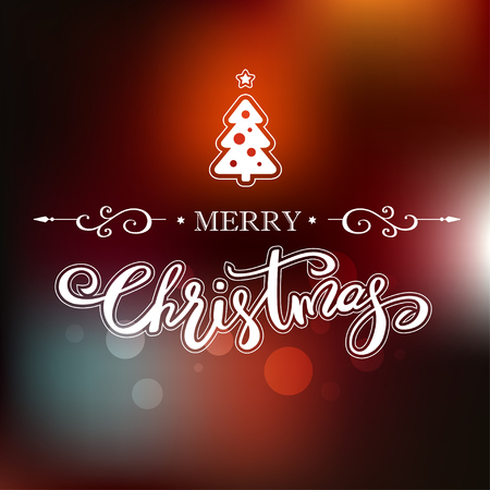 Merry Christmas greeting card with decorative Christmas tree. Holiday lettering design.