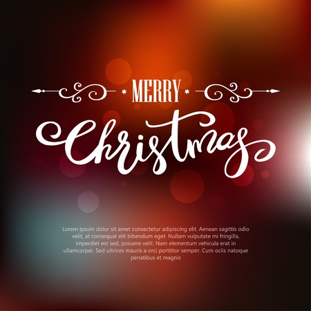 Template Merry Christmas greeting card on blurred background. Holiday lettering design.