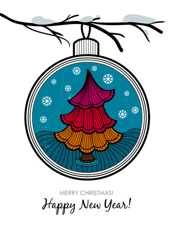 attrition: Greeting card with glass ball and Christmas tree. Happy New Year and Merry Christmas card.