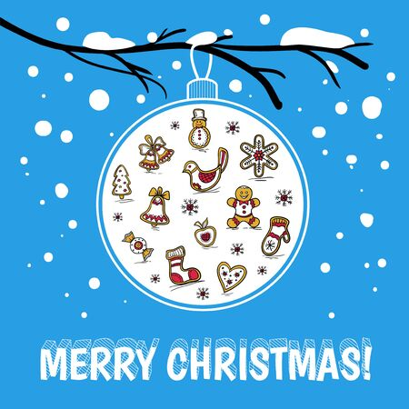 Template of holiday postcard with glass ball on snowy branch. Merry Christmas card. Vector illustration