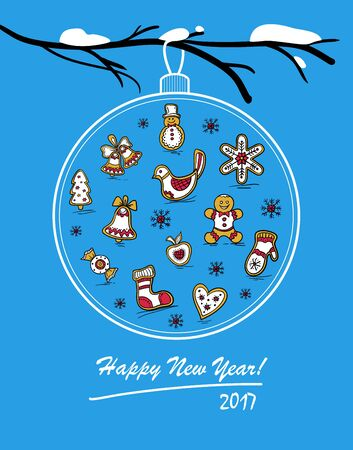 Template of holiday postcard with glass ball on snowy branch. Happy New Year 2017 card. Vector illustration