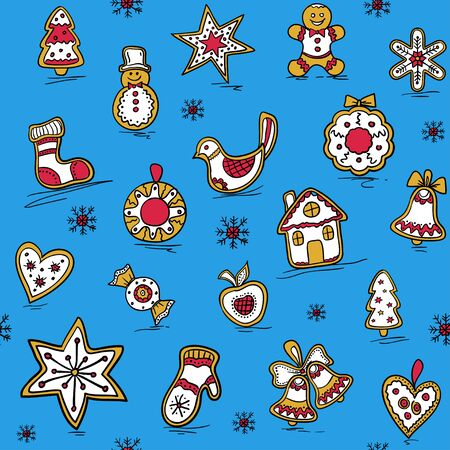 haert: Christmas pattern with Gingerbreads. Vector illustration for your website or packaging design and fabric. Illustration