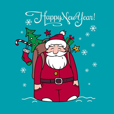 Holiday card with Santa Claus and gifts. Happy New Year card.