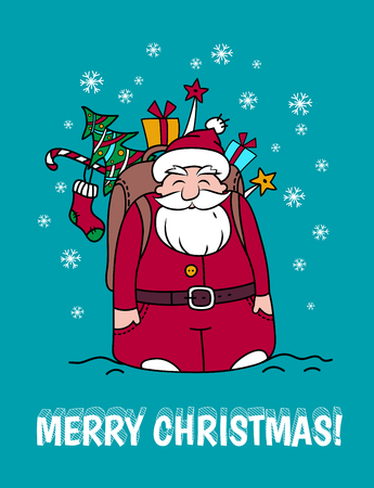 Holiday card with Santa Claus and gifts. Merry Christmas card.