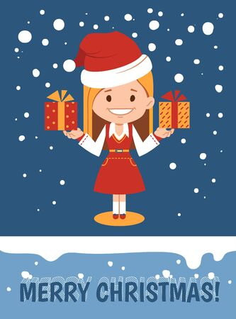 Template of holiday card. Merry Christmas card. Vector illustration