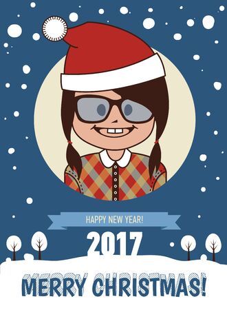 Template of holiday card. Merry Christmas and Happy New Year 2017 card.