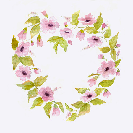 Flower Watercolor Wreath in shape of heart. Template for invitation