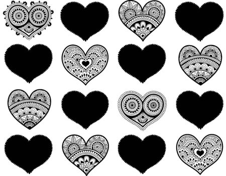 Valentines seamless pattern with lace hearts. Mehndi style Illustration