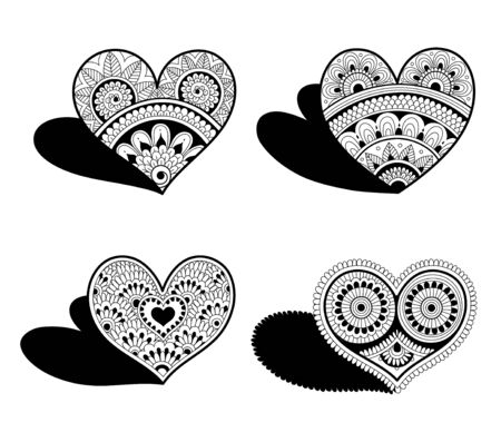 Hearts in mehndi style. Decorative elements for Valentines Day Illustration