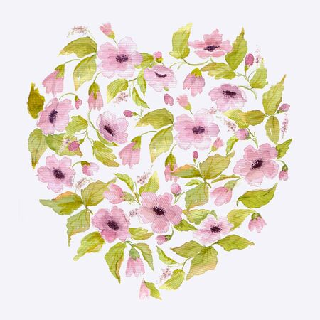 Watercolor romantic heart of pink flowers for Valentines day