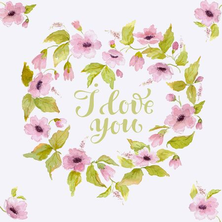 Elegant watercolor greeting card for Valentines day with flower wreath in shape of heart.