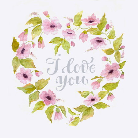polkadot: Elegant watercolor greeting card for Valentines day with flower wreath in shape of heart.